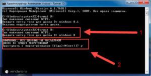Форматирование диска через командную строку Windows