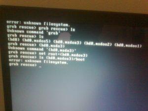 Решение ошибок программы-загрузчика GRUB