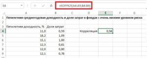 Как найти корреляцию в Excel