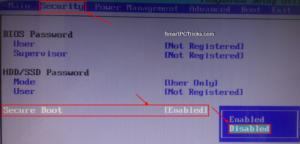 Исправление ошибок Secure Boot