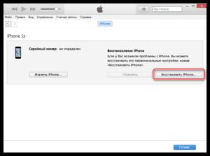 Устранение ошибки 1 в iTunes при восстановлении iPhone